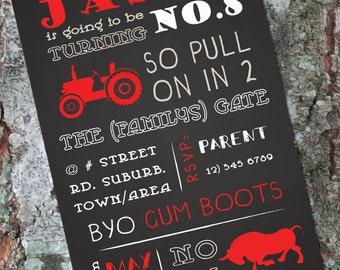 Boys Chalkboard Farm Invitation - Tractor Invitation - Bull/Cattle/Steer - Birthday Invitation