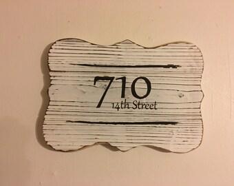 Rustic Custom Address Sign, Handmade Wood Burning Distressed