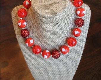 Red Heart Bubblegum Necklace