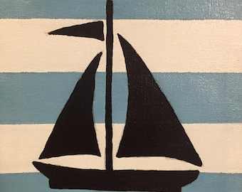 Acrylic sailboat canvas painting 8x10