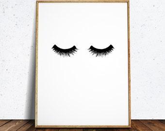 Lashes print, black lashes, lash, lashes poster, eyelashes, lashes, lashes wall art, lash art, black lash, printable lashes, lashes download