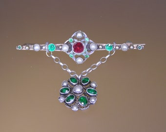 Austro - Hungarian Silver Hanging Brooch