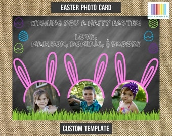 Easter Card, Easter Photo Card, Easter Gift Ideas, Easter Bunny Card, Easter Photo Template Card, 5x7 (Digital File)