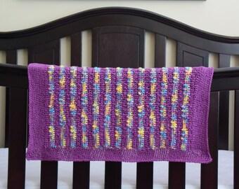 Purple Baby Afghan Lap Blanket for the Nursery, Baby Shower, Newborn Photo Prop