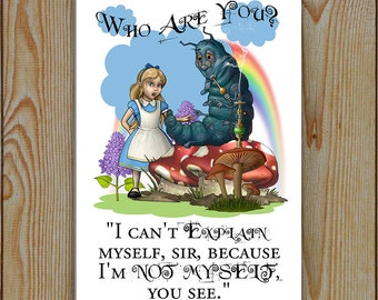 Alice In Wonderland, Alice Talks To The Caterpillar , Metal Tin Plaque | Caterpillar to Alice Who are you?