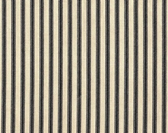 """18"""" King Tailored Bedskirt, Black Ticking Stripe, French Country"""