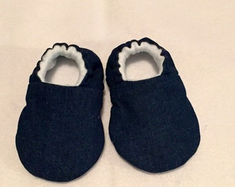 Jean baby moccasins/slippers