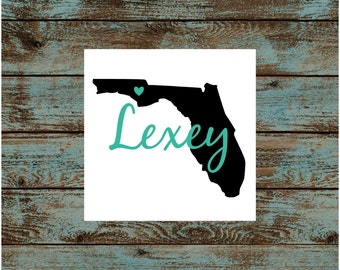 Florida with Name Vinyl Decal Sticker | STATE with Name Vinyl Decal Sticker | Yeti Rtic Corkcicle | Car Decal | 3""