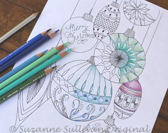 Christmas Ornament Coloring Page, Ornament Coloring Page, Adult Coloring Page, Printable Download, Instant Download, Coloring, Coloring Art