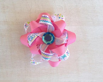 Pink and White flower loop Easter bow
