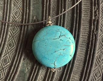 Ras neck in cable, round turquoise howlite pendant necklace