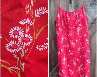 90s daisy dress, sunflower floral red skort mini slip dress