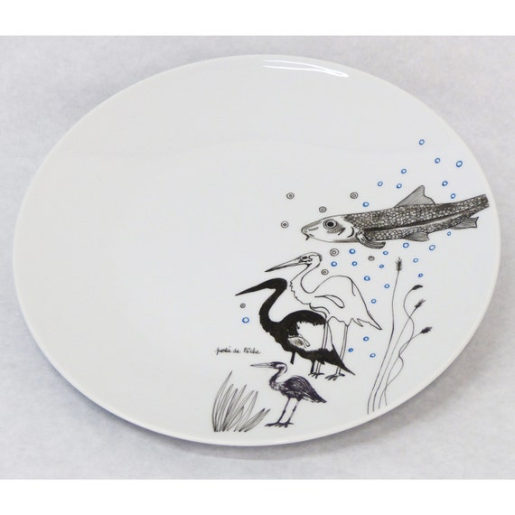"""Hand painted porcelain plate - """" Fishing trip """""""