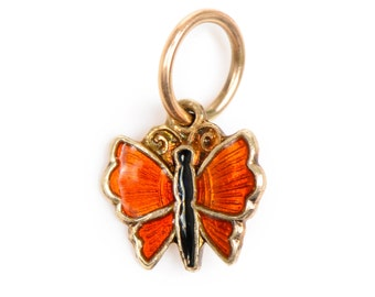 Orange Guilloche Enamel Butterfly