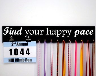 Find Your Happy Pace Race Bib Holder with Hooks for Holding Running Medals as well, Perfect Gift for Runners