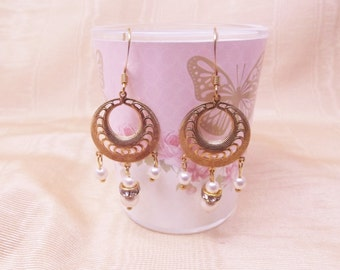 Filigree Pearl Hoop Earrings