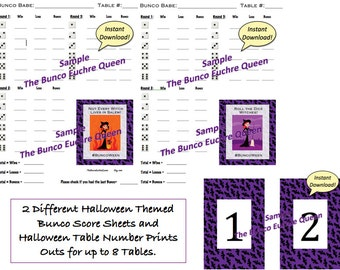 2 Halloween Bunco Score Cards / Printable Score Sheets:   Plus Table Number Printouts for up to 8 tables.