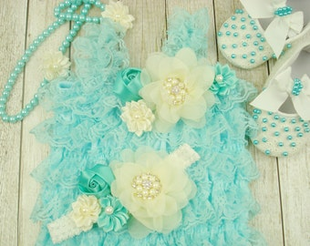 Baby romper 1st birthday Petti ruffle romper baby Newborn outfit Turquoise lace romper Shoes Headbands baby Ruffle romper baby
