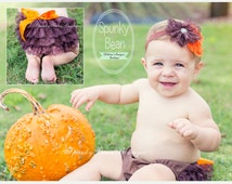 Baby Bloomers SET, Baby Girl Diaper cover, Baby Fall Thanksgiving, Brown Bloomers Headband set, Baby's 1st Halloween, Photography prop