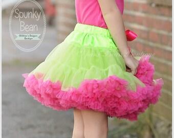 Baby Girl DELUXE tutu pettiskirt, Hot Pink / Neon Lime green Premium Tutu Petticoat, Fancy Posh Toddler Skirt, Photography prop, Easter