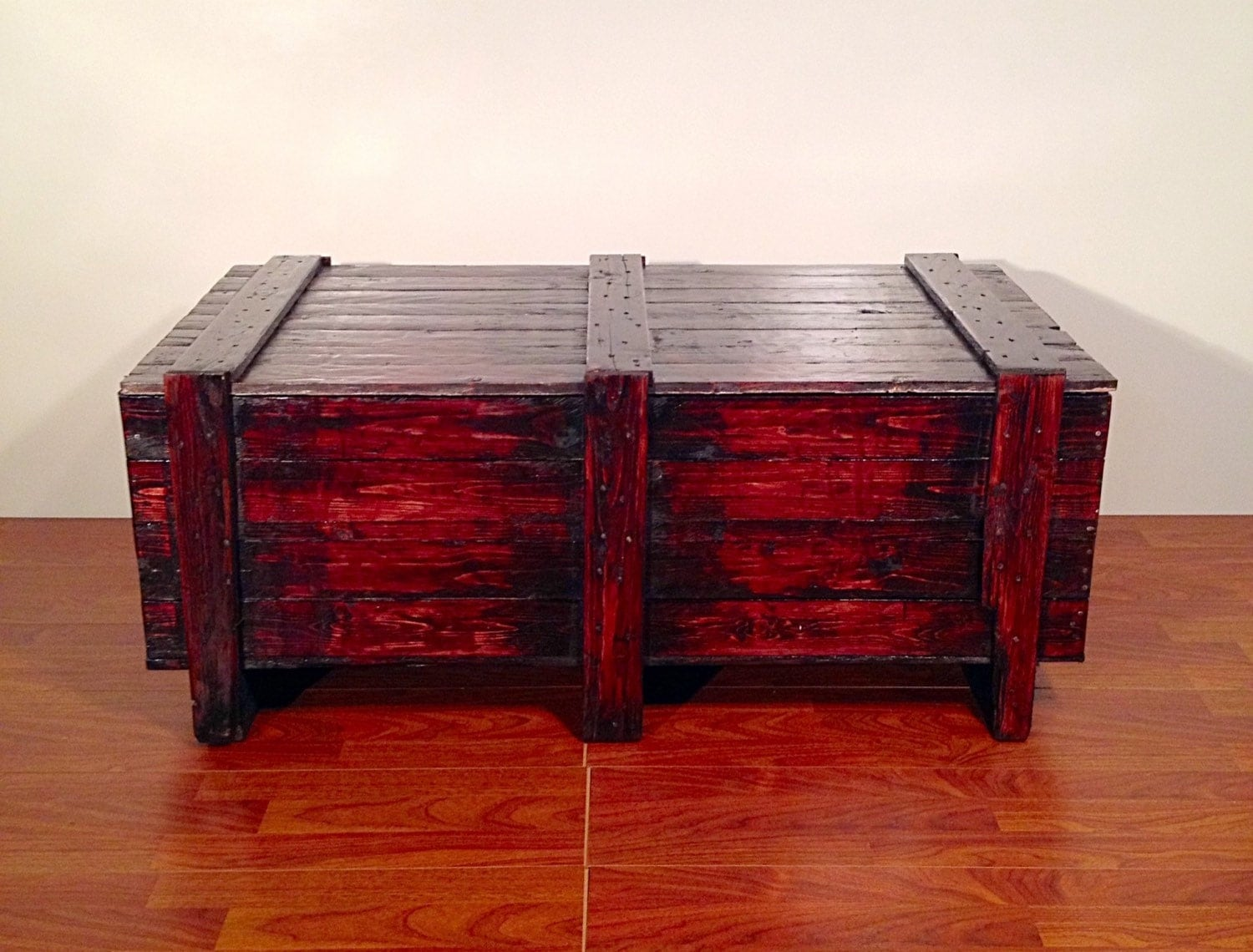 Rustic Trunk Coffee Table Wooden Chest With Storage Blanket