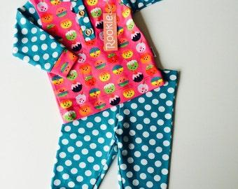 Baby girl blue white dot/funny pink pajama