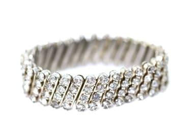 Vintage 1950's Rhinestone Cuff Bracelet