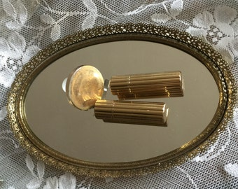 Vintage Mirror Tray,  Brass Filigree Perfume Mirror Tray