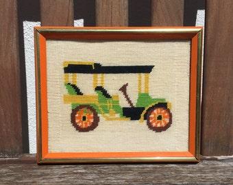 Framed Car Cross Stitch, Old Car Framed Needlework, Boy Room Decor