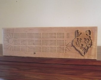 Handcrafted Wolf Cribbage Board Aroostook County Maine