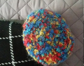 Multi-color hand knitted baby Beret