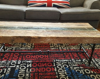 Reclaimed Barn Wood Coffee Table with Glass insert