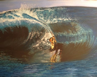 Surf's Up!  Hand drawn original drawing in pastel