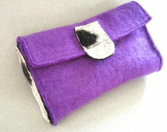 Clutch purse hand felted, purple clutch purse, handfelted clutch purse purple, one-of-a-kind purple wool purse, funky purse