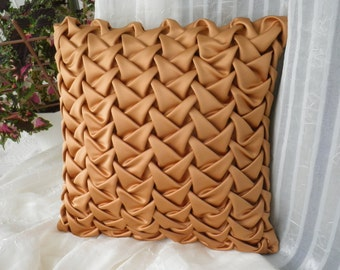 Decorative Smocked Cushion Brown Pillow Cover, Silk Throw Pillow, Brown Cushion, Smocked Pillow, Pillow Sofa 16x16 inch, Milk Pillow Cover