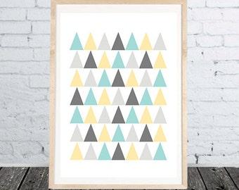 Triangles Print Digital Wall Art Poster