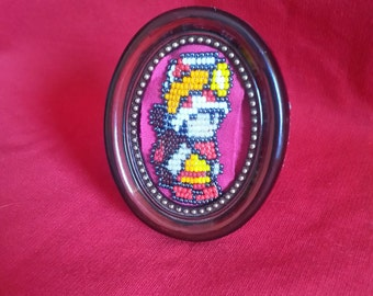 Captain Toad Beaded Figure in Antique Picture Frame