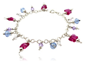 Bracelet in sterling silver with butterflies made of crystal glass, gift, for confirmation, communion, testimony, conclusion