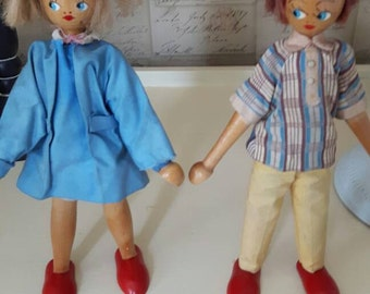 Pair of wooden dolls - red feet - 1960's - possible Polish origin