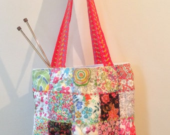 Liberty print patchwork project bag