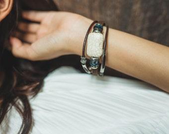 Leather Ivory Stone Bead Bracelet, Unisex Cuff Bracelet, Genuine Leather Bracelet, Wrist jewelry,White Leather Bangle LO15