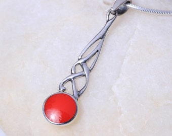 Silver And Red Stone Charm, Sterling Silver Chain, Womens Silver Gift, Silver Neck Piece,  Boho Jewelry,Delicate Stone Pendnt, (P2/2)