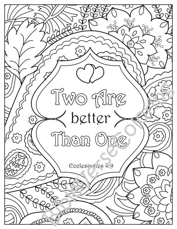 5 Bible Verse Coloring Pages Set Inspirational Quotes DIY