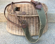 Vintage Split Willow Fishing Creel W/Harness