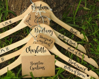 Personalized Hangers for Wedding Party- Wooden Clothes Hangers- Wedding Hangers- Custom Wedding Hangers- Set of 9 wedding hangers