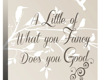 """A Little of What You Fancy Does You Good - Bird Tree Branch - Canvas Wall Art Print Picture - 20"""" x 20"""" (52cm x 52cm) - by Rubybloom Designs"""