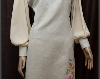 women's dresses with homespun linen with embroidery