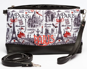 Paris Cosmetic Case, Paris Makeup Bag, Paris Makeup Case, Paris Jewelry Case, Paris Pencil Case, Paris Brush Case, Paris Zippered Pouch 8060