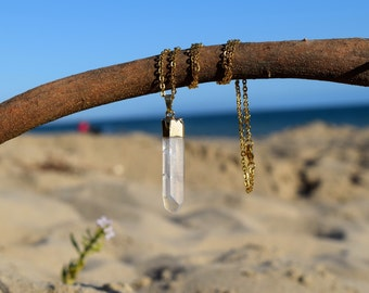 Raw Quartz Necklace  // Gold Dipped Quartz Necklaces // Clear Quartz Crystal Pendant // Rough Quartz Necklace