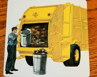 Vintage Double-Sided Large Flash Card - 1960's - Garbage Truck - Transportation Theme - Yellow Vehicle